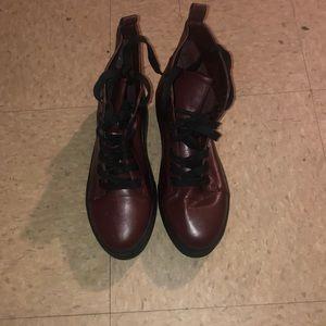 Burgundy platform boots